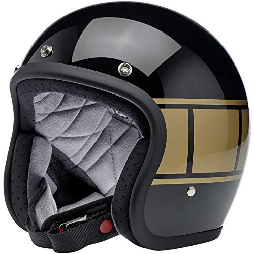 Casco Jet Abierto Biltwell Bonanza Negro Brillante Gloss Black Holeshot Aprobado Dot Helmet Biker Look Universal para género Custom Vintage Retro años 70 Off-Road Street Talla S