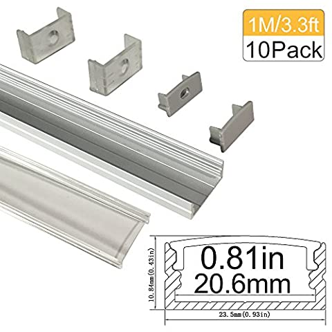 3.3Ft/1M Clear Cover U Shape Wide Aluminum Profile, Lightingwill 10 Pack Sliver Anodized Profile for <20mm 5050 3528 LED Flex/Hard Strip Lights with Covers, End Caps, and Mounting Clips