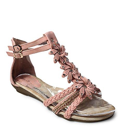 Damen Sandalen Sandaletten ST98 Keilabsatz Blumen Glitzer Zehentrenner (39, Pink/Rosa) (Rosa Flache Schuhe)