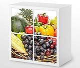 Set Möbelaufkleber für Ikea Kallax 4 Fächer/Schubladen Obst Früchte Korb Gesundheit Kat4 Küche Aufkleber Möbelfolie sticker (Ohne Möbel) Folie 25H239