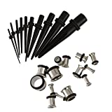 Imported 10Pcs Ear Expander Cone & 9 Pairs of Tunnel Taper Ear Plugs Set Black Silver