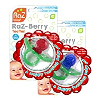 RaZbaby RaZ-Berry Silicone Teether/Double Pack Red & Blue/Multi-Texture Design/Hands Free Design