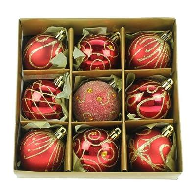 Set of Nine Red & Gold Shatterproof Christmas Tree Baubles 6cm