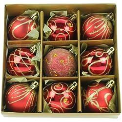 Christmas Direct - Set di 9 palline di Natale, dimensioni 6 cm, colore: rosso/oro