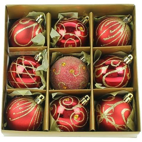 Christmas Direct - Set de 9 bolas para árbol de Navidad (6 cm), color rojo y dorado