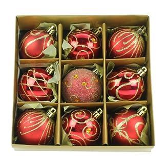 Juego de nueve adornos de árbol de Navidad de rojo y oro (6 cm) de Christmas Direct