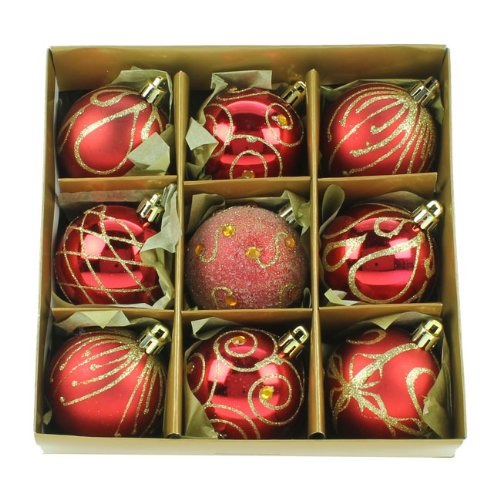 Christmas Direct Set of Nine Red amp; Gold Christmas Tree Baubles (6cm)