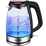 Aicok Glass Electric Kettle 3000W Fast Heating Kettles Electric, 1.7L Illuminating LED Cordless Glass Jug Kettle, BPA-Free