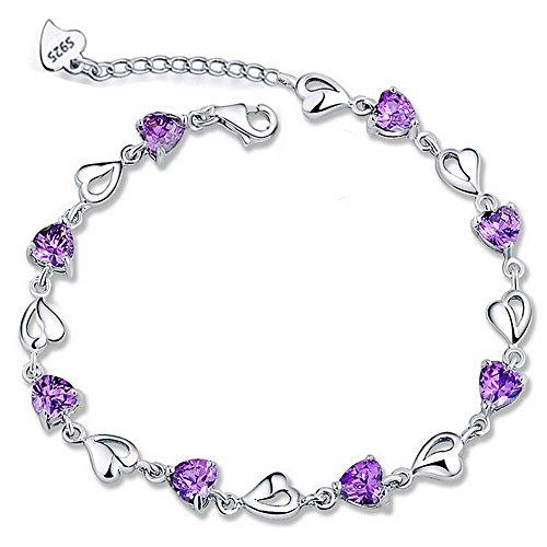 Meyiert S925 Sterling Silver Bracelet Cubic Zirconia Crystal Heart Bracelet with a Gift Box hMag9JUdTr