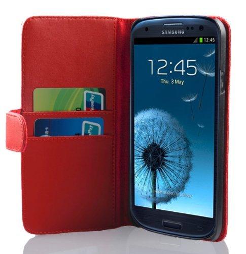 Cadorabo Samsung Galaxy S3 / S3 NEO Custodia di Libro di Finta-Pelle LISCIO in ROSSO ANGURIA – con Vani di Carte e Chiusura Magnetica – Portafoglio Cover Case Wallet Book Etui Protezione