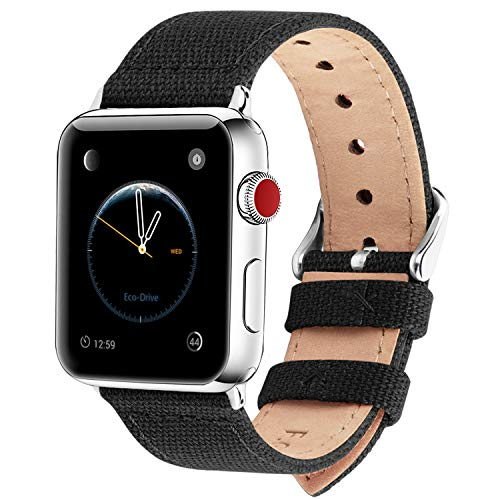 Fullmosa Kompatibel iwatch Armband 44mm Serie 4, Leinwand Canvas NATO Style für Apple Watch Armband Series 4 (44mm) Series 3 2 1, Schwarz 42mm/44mm -