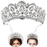 Tiara de novia con diamantes de imitación y peinetas laterales, marca Frcolor