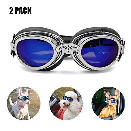 Pet Goggles & Pet Sonnenbrillen, Big Dog Eye Wear Schutz/Motorrad Wasserdichter UV-Schutz Doggie Sonnenbrillen Faltbare einstellbare Band Anti-Fog