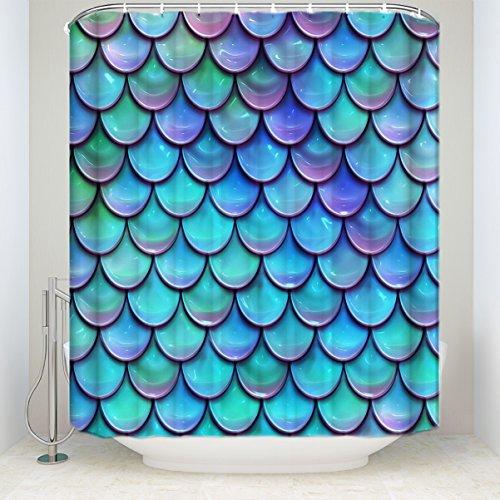 he Duschvorhang Fish Scale Mermaid Badezimmer Polyester-Dekoration-Dusche Vorhänge 72 x 96 inch Fish Scale Mermaid ()