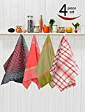 #8: Avira Home Royal Classic Large Kitchen Towels With Hanging Loop, Pack Of 4, (Multicolor)
