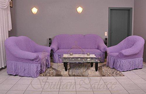 My Palace 3-Sitzer + 2-Sitzer + Sessel Sofabezug Sofahusse Sofaüberwurf 3 er Couchbezug Sofaschoner 3 teilig. Sofa Bezug Set Farbe: lila/Flieder -