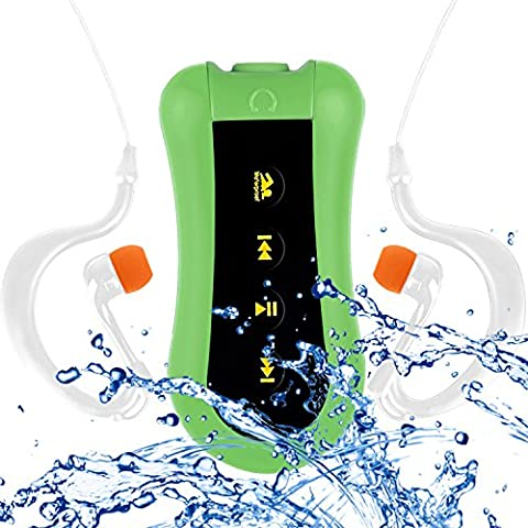 COOSA Waterproof Lecteur MP3 8GB Waterproof music player conception de clip pour Nager & autres Sports (IPX-68 Standard) Radio FM (Vert, 8GB)