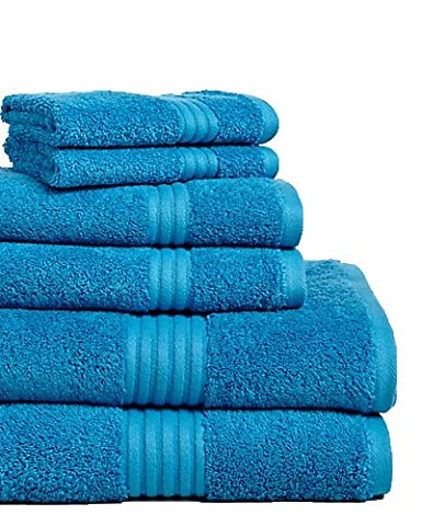 Chortex Hampton 100% Combed Cotton 6 Piece Towel Set (2 Washcloths, 2 Hand Towels, 2 Bath Towels), Turquoise