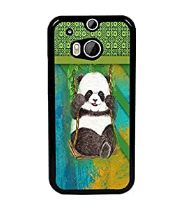 PrintDhaba Panda D-3768 Back Case Cover for HTC ONE M8s (Multi-Coloured)