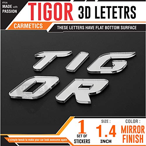 CarMetics TIGOR 3D Letters for Tata Tigor - 3D Stickers Logo Emblem Accessories - Mirror Finish
