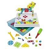 Kit De Mosaico, Color 3D Rompecabezas Bloques de Construcción Con un Destornillador y Tornillos 189Pc Para Niños 3456