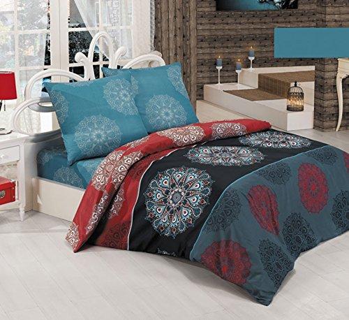 BUYMAX Bettwäsche Bettgarnitur mit Reißverschluss 3 Größen und vielen Farben Öko-Tex (200x200 cm, Design 11)