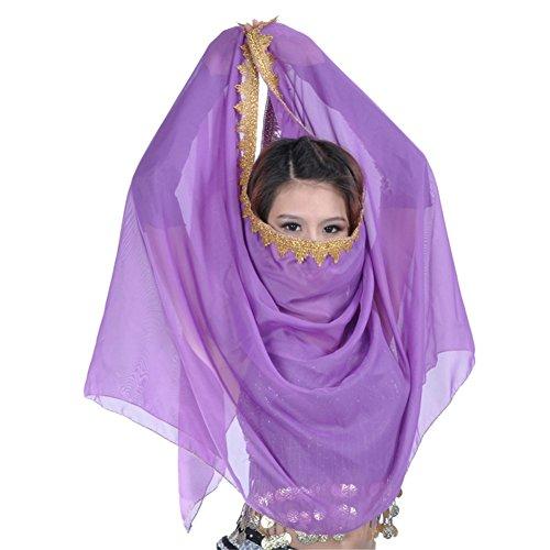 Bauchtanz Kostüm Chiffon Ordnung Schleier Schal Gesichts Schal Kopftuch, Dunkel Violett, One - Bauchtanz Kostüm Ägyptischen Stil