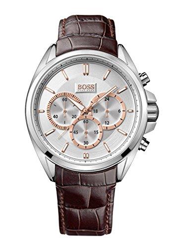 Hugo Boss - 1512881 - Montre Homme - Quartz Chronographe - Cadran Blanc - Bracelet Cuir Marron