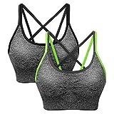 SANMIO Sport BH Damen Yoga Fitness Push Up BH, abnehmbare Polsterung und Ohne Bügel, Starker Halt Bra(Verpackung/MEHRWEG) (Schwarz Grün, Size M Fit 70B/70C/70D/75A/75B/75C/75D)