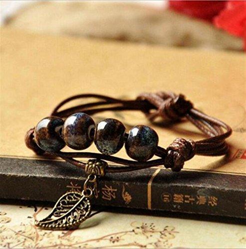 Eine Gute Wahl Runde Perlen Armband Katze Anhänger Lederarmband (schwarz)