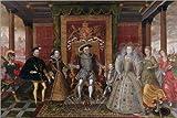 Poster 90 x 60 cm: Eine Allegorie der Tudor Nachfolge: Die Familie von Heinrich VIII. von Lucas de Heere / Bridgeman Images - hochwertiger Kunstdruck, neues Kunstposter