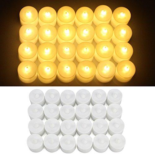 Jayboson 24 pcs Vela Luz LED Candles Sin llama Bright Parpadeo 60+ horas Eléctrico Mood LED Candles Tealights Para las decoraciones de la Navidad de la casa (Blanco cálido)