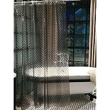 Diossad Cortina de Ducha 3D Negro Impermeable Resistente al Moho PEVA Cortina de Baño Incluye 12 Anillos Blancos de La Cortina