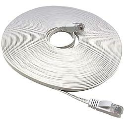 Mr. Tronic 30 Mètres Câble de Réseau Ethernet 30m Plat | CAT6, AWG24, CCA, UTP, RJ45 | Color Blanc