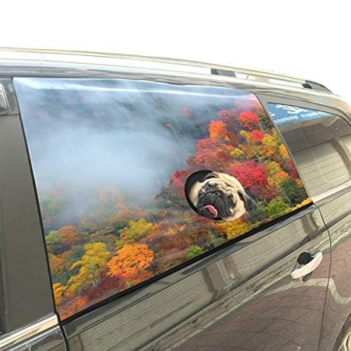 Qdosk Herbst Farbe Fallen Herbst Hund Faltbare Hund Sicherheit Auto Gedruckt Fenster Zaun Vorhang Barrieren Protector Für Baby Kind Einstellbare Flexible Sonnenschutzabdeckung Universal Fit Für SUV