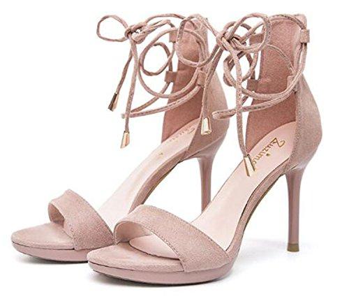 Preisvergleich Produktbild 2018 newest sexy women sandal cross-tied fashion sandals women night club high thin heel office lady sandal pink 7cm 6