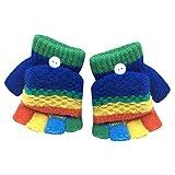 Fuibo Baby Fäustling, Kleinkind Baby niedlich verdicken Patchwork heißen Mädchen Jungen Winter warme Handschuhe (Dunkelblau)