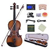 ammoon Full Size 4/4 Acoustic Electric Violin Fiddle Solid Wood Body Ebony Fingerboard