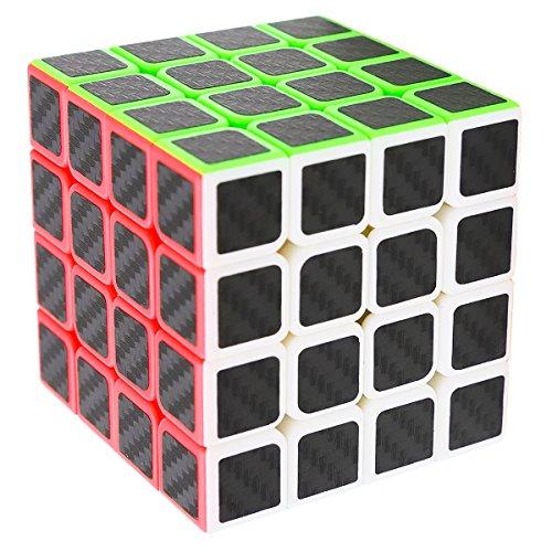Zauberwürfel 4x4x4 Speed Cube, LSMY Speedcube Magic 4x4 Puzzle Würfel Carbon Faser Aufkleber 3D IQ Spielzeug -