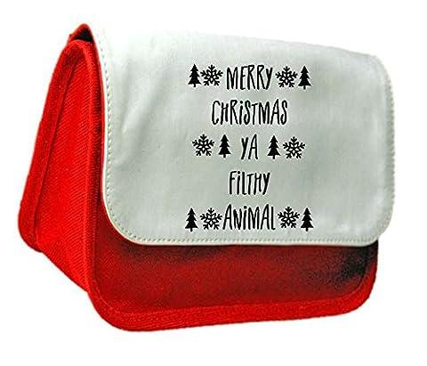 Joyeux Noël Ya, Filthy Animal Funny Noël Festive Science-Fiction Trousse à crayons ou sac d'embrayage taille unique Red