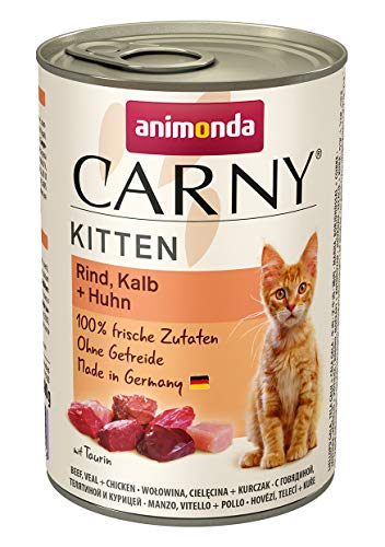 Animonda Carny Kitten Katzenfutter, Nassfutter Katzen bis 1 Jahr, Rind, Kalb + Huhn (6 x 400 g)