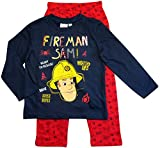 Feuerwehrmann Sam Schlafanzug Lang Pyjama (Blau-Rot, 98)