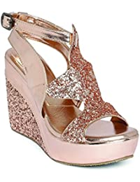 Marc Loire Women's Pink Embellished Open Toe Buckle Sandals Wedges Heels
