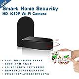 WLAN WIFI-IP Spy-cam Spionage Kamera mit drehbarem 180° Objektiv 1080p Kamera mit unglaublichem 180°-Winkel und rotierbarer Linse, Spionage SpyCam Spy Cam Hidden Camera | Bewegungserkennung (motion detection), 1Mega pixel Kamera,| Farbe: schwarz eyeCam EC11145