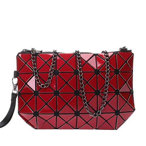 Frauen Hologram Geometric Cross Body-Umhängetasche Handtasche Cosmetic Bag Red
