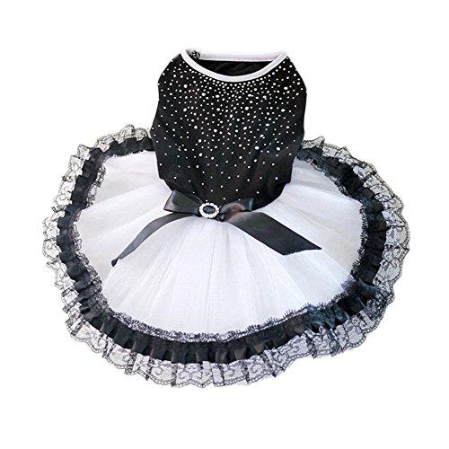 PanDaDa Haustier Hund Katze Garn Rock (Black Diamond + Schwarz und Weiß Rock + Taille Bowknot) Lovely Prinzessin Sommer Kleidung Hund (Rock Kostüme Schwarz Pudel)