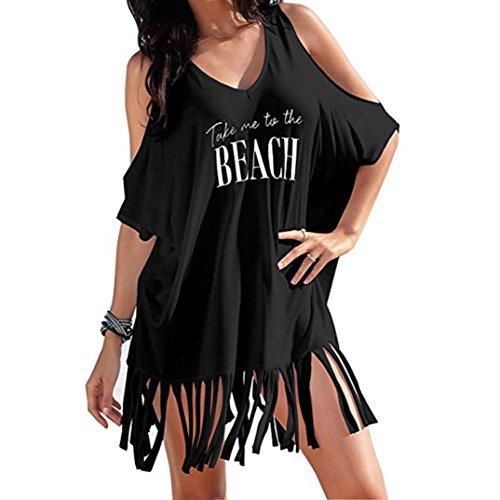 Bademode Lose (MCYs Damen Brief Tassel Bikini Bluse Strand Minikleid Bademode Kleid Badeanzug Lose Bikini Cover Up Sonnenschutz Bluse Sommer (Schwarz, S))