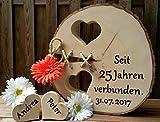 Baumscheibe Silberhochzeit Holzscheibe Goldene Hochzeit Holzhochzeit Name Datum Initialen