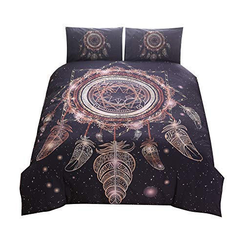 Shamdon Bettwäsche-Set mit Traumfänger-Motiv, 3-teilig, 1 Bettdeckenbezug, 2 Kissenbezüge, in Doppel-King-Size, duvet cover-228x228 cm-fit for 2M bed -