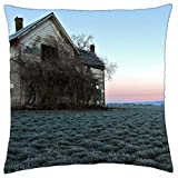 abandoned farmhouse in the middle of fields - Throw Pillow Cover Case (18